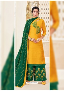 Yellow Classy Heavy Designer Party Wear Straight Salwar Suit