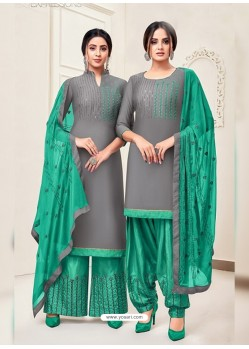 Grey Classy Heavy Designer Party Wear Straight Salwar Suit