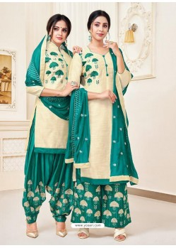 Cream Classy Heavy Designer Party Wear Straight Salwar Suit