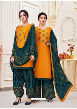 Orange Classy Heavy Designer Party Wear Straight Salwar Suit