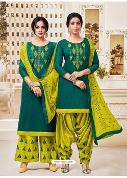 Dark Green Classy Heavy Designer Party Wear Straight Salwar Suit