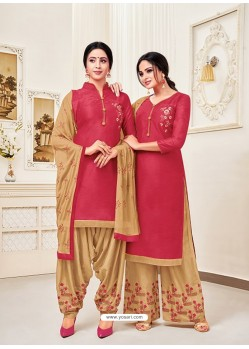 Dark Peach Classy Heavy Designer Party Wear Straight Salwar Suit