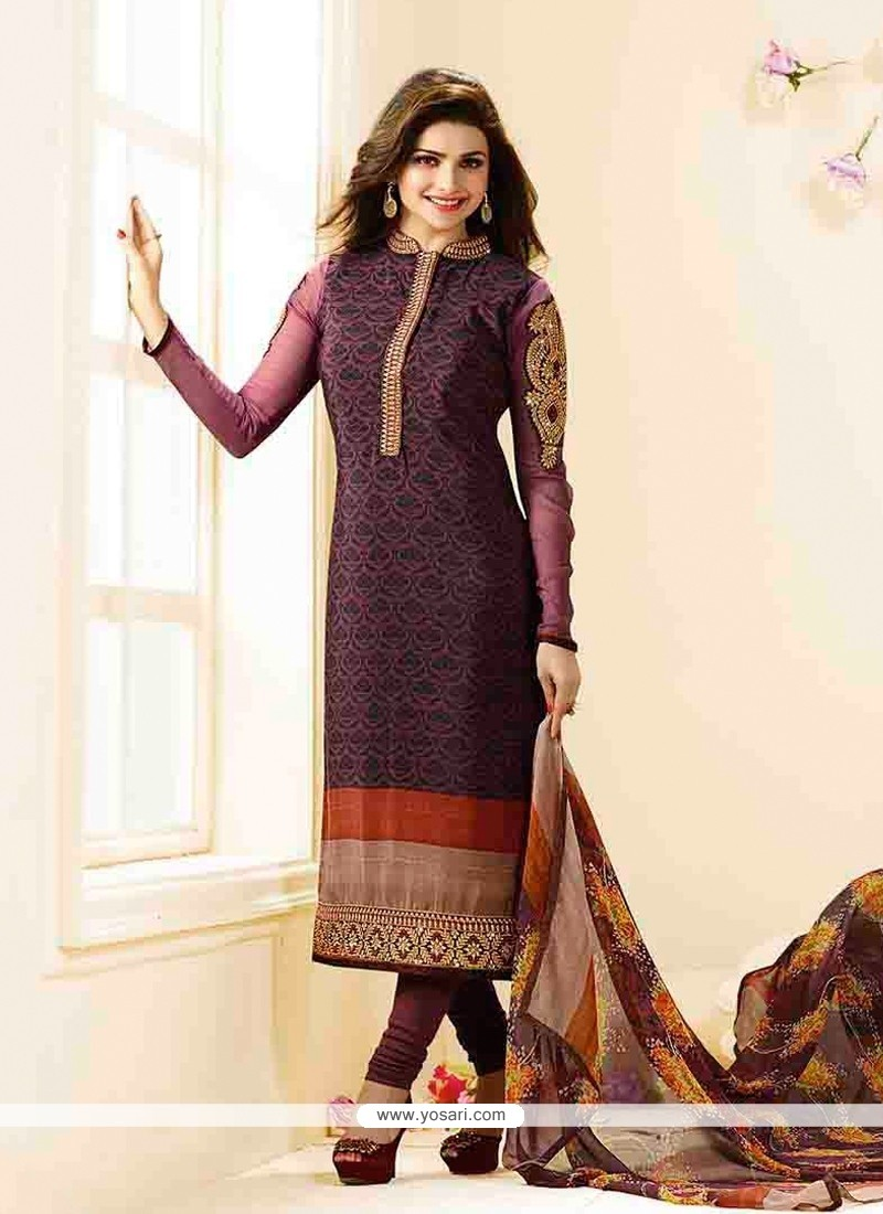 Prachi Desai Violet Designer Straight Salwar Suit