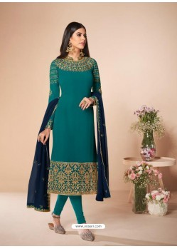 Turquoise Stunning Designer Real Georgette Straight Salwar Suit