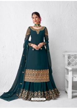 Teal Blue Designer Party Wear Real Georgette Wedding Lehenga Suit