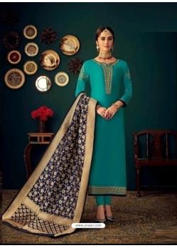 Turquoise Heavy Designer Jam Satin Cotton Straight Salwar Suit