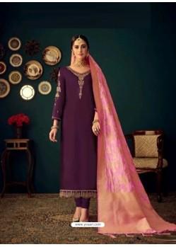 Purple Heavy Designer Jam Satin Cotton Straight Salwar Suit