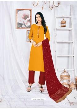 Yellow Readymade Designer Rayon Straight Salwar Suit