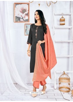Black Readymade Designer Rayon Straight Salwar Suit