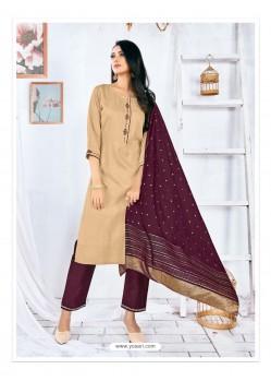 Beige Readymade Designer Rayon Straight Salwar Suit
