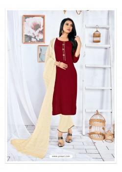 Maroon Readymade Designer Rayon Straight Salwar Suit