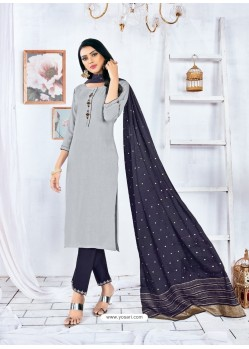Light Grey Readymade Designer Rayon Straight Salwar Suit