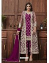 Purple Designer Embroidered Net Party Wear Wedding Suit