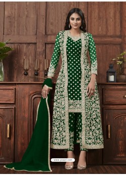 Forest Green Designer Embroidered Net Party Wear Wedding Suit