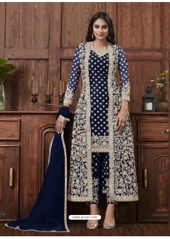 Dark Blue Designer Embroidered Net Party Wear Wedding Suit