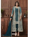 Teal Blue Designer Embroidered Net Party Wear Wedding Suit