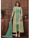 Sea Green Designer Embroidered Net Party Wear Wedding Suit