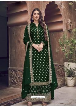 Dark Green Dazzling Designer Embroidered Rangoli Georgette Palazzo Salwar Suit