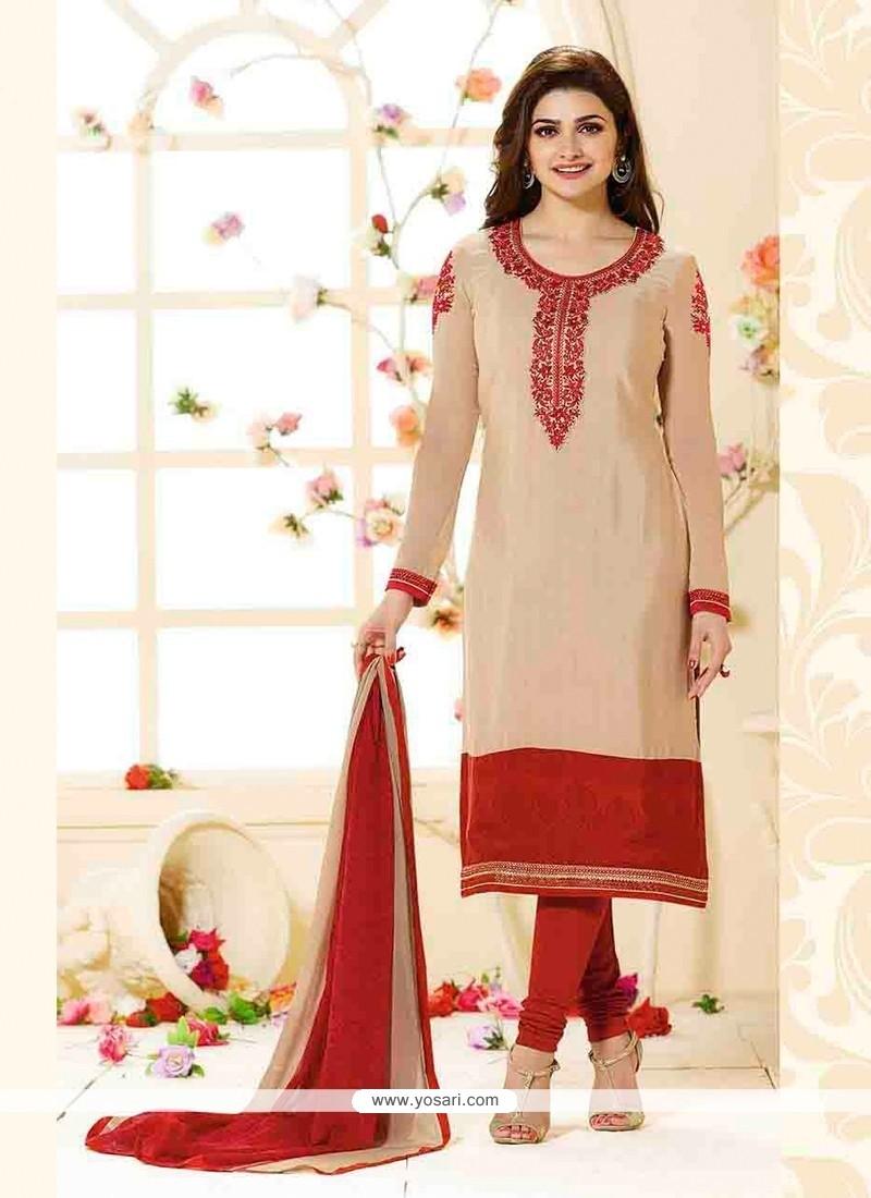 Prachi Desai Cream Faux Crepe Designer Straight Salwar Suit