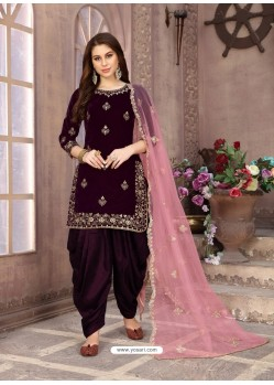 Purple Heavy Designer Party Wear Velvet Punjabi Patiala Suit