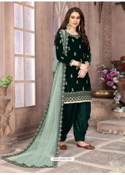 Dark Green Heavy Designer Party Wear Velvet Punjabi Patiala Suit