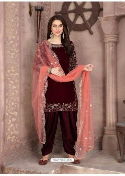 Maroon Heavy Designer Party Wear Velvet Punjabi Patiala Suit