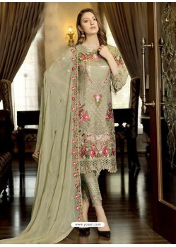 Olive Green Latest Party Wear Designer Faux Georgette Pakistani Suit