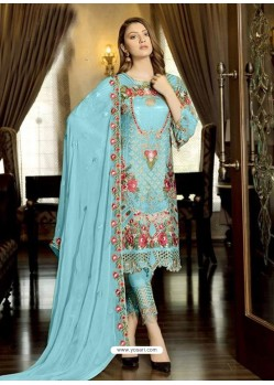 Sky Blue Latest Party Wear Designer Faux Georgette Pakistani Suit