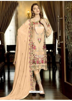 Light Orange Latest Party Wear Designer Faux Georgette Pakistani Suit