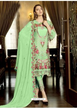 Sea Green Latest Party Wear Designer Faux Georgette Pakistani Suit