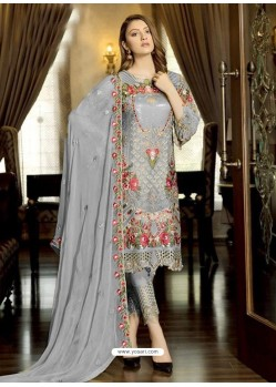 Grey Latest Party Wear Designer Faux Georgette Pakistani Suit