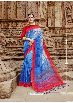 Blue Beautiful Designer Casual Wear Art Silk Sari