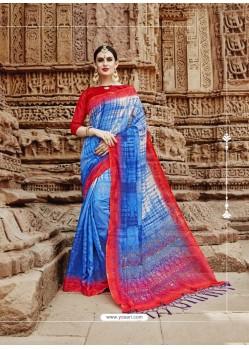 Blue Beautiful Designer Casual Wear Art Silk Sari