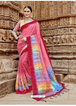 Light Red Beautiful Designer Casual Wear Art Silk Sari