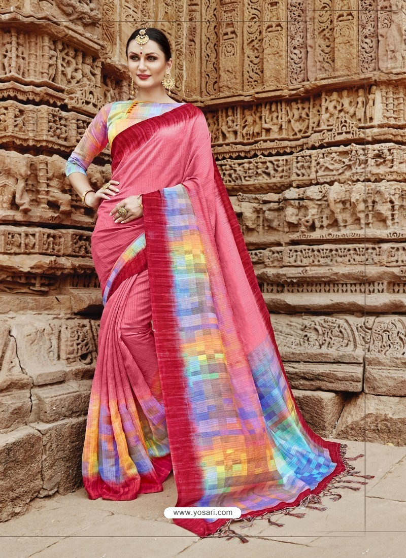 Light Red Beautiful Designer Casual Wear Art Silk Sari