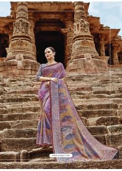 Mauve Beautiful Designer Casual Wear Art Silk Sari