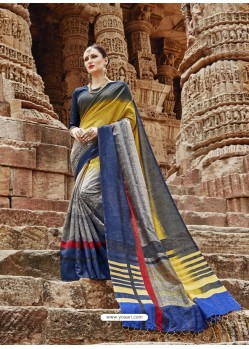 Multi Colour Beautiful Designer Casual Wear Art Silk Sari