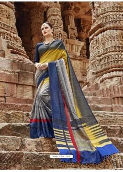 Multi Colour Beautiful Designer Casual Wear Art Silk Sari