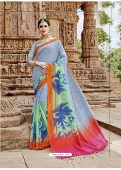 Light Grey Beautiful Designer Casual Wear Art Silk Sari
