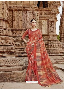 Dark Peach Beautiful Designer Casual Wear Art Silk Sari