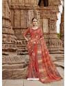 Dark Peach Beautiful Designer Casual Wear Art Silk Sari