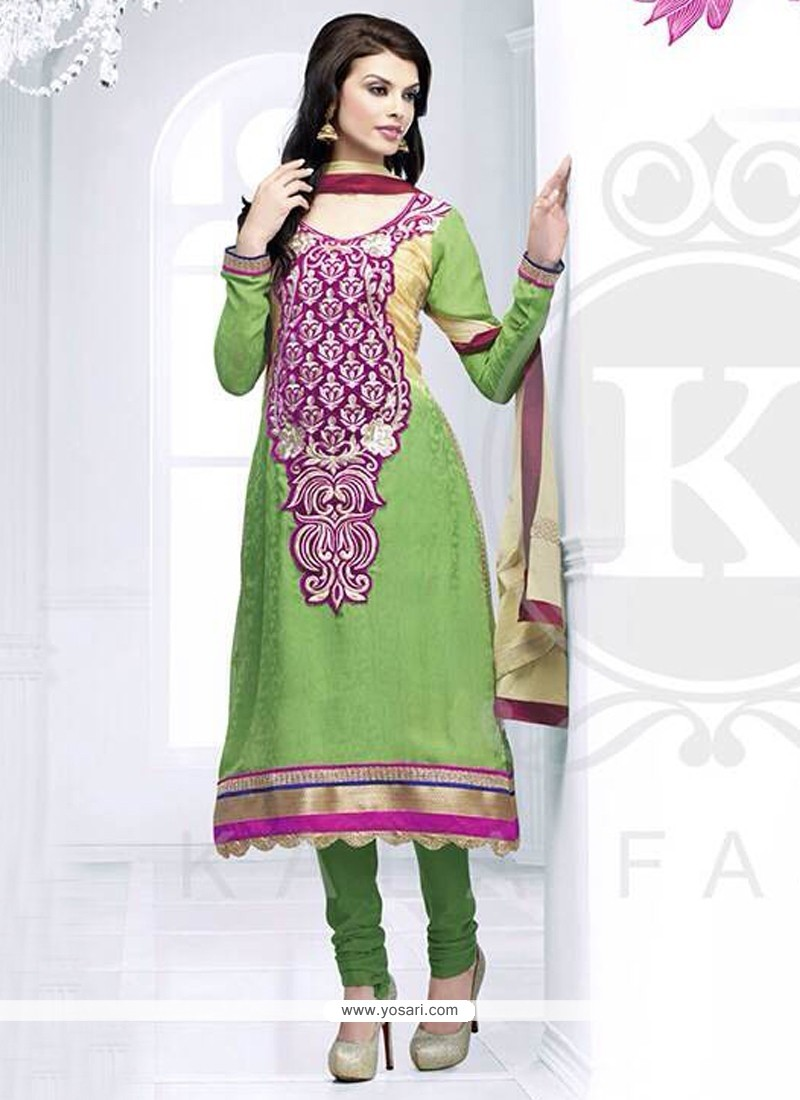 Modern Green Embroidery Churidar Suit