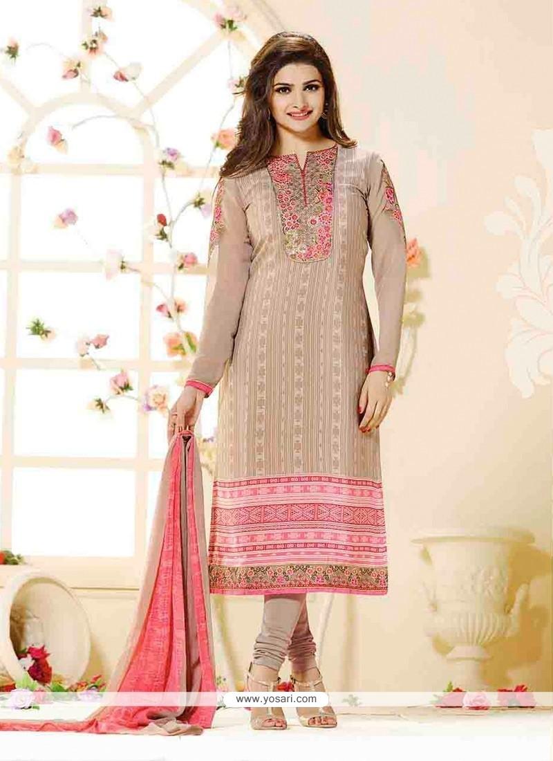 Prachi Desai Faux Crepe Designer Straight Salwar Suit
