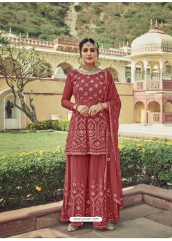 Light Red Designer Embroidered Heavy Georgette Garara Suit