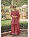 Light Red Designer Embroidered Heavy Georgette Garara Suit
