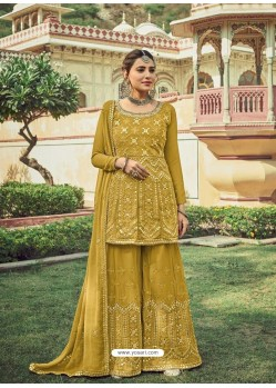 Corn Designer Embroidered Heavy Georgette Garara Suit