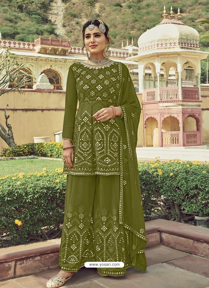 Mehendi Designer Embroidered Heavy Georgette Garara Suit