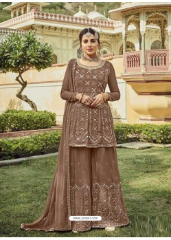 Copper Designer Embroidered Heavy Georgette Garara Suit