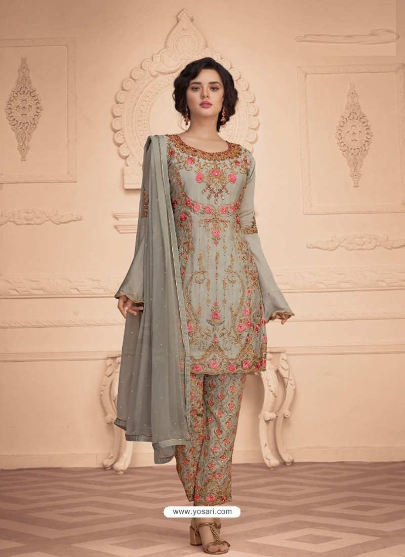 Light Grey Designer Embroidered Faux Georgette Pant Style Suit