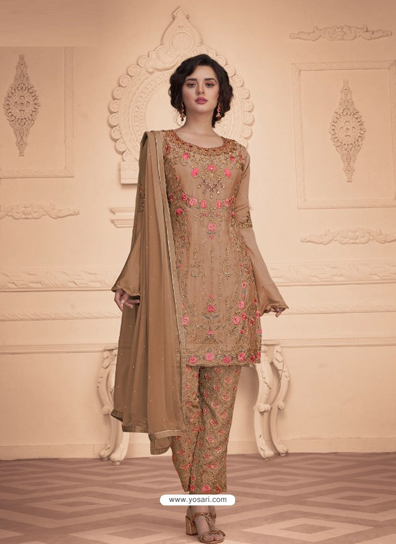 Camel Designer Embroidered Faux Georgette Pant Style Suit